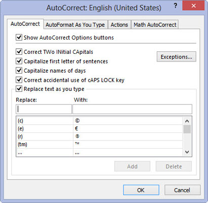 How to Customize Excel 2013 AutoCorrect - dummies