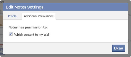 Edit Notes Settings dialog box allows you to give the app any additional permissions.