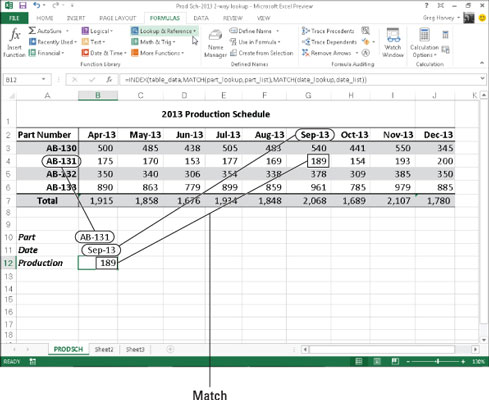 Doing a two-way lookup in an excel spreadsheet.