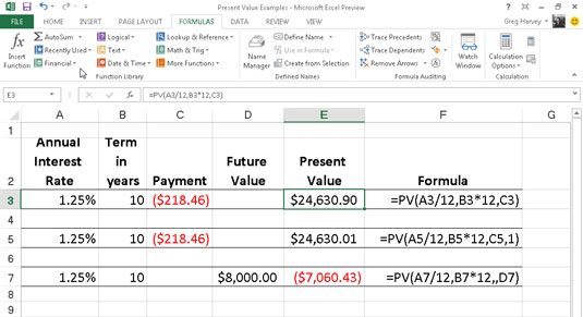 how to calculate the present value in excel 2013 dummies
