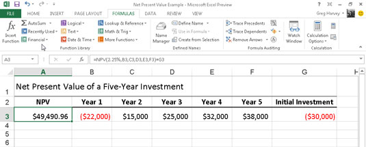 how to calculate the net present value in excel 2013 dummies