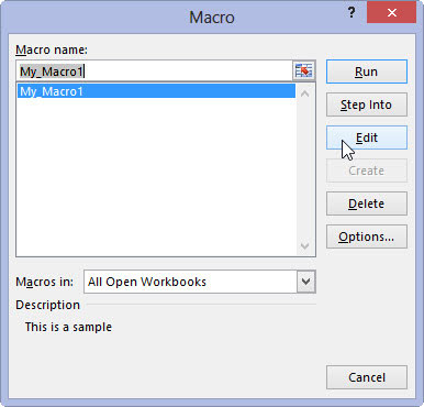 The Macro dialog box in Microsoft Excel.