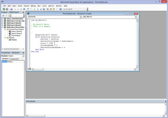 The workspace in Microsoft Visual Basic for Applications.