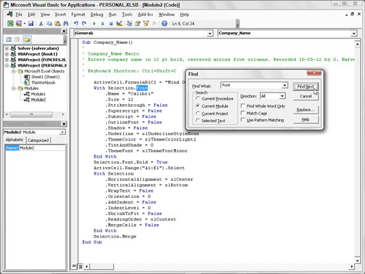 How to Find and Replace Code in a Visual Basic Editor Macro