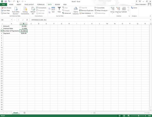 An open Excel spreadsheet.