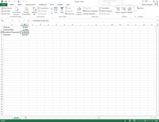 An excel workbook with a solved problem.
