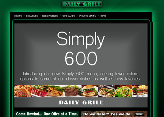 Website for The Daily Grill, in Los Angeles.