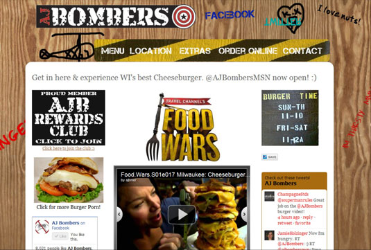 Landing page for restaurant AJ Bombers.
