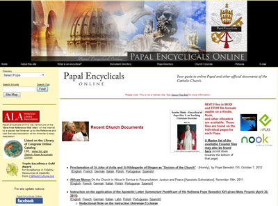 The Papal Encyclicals home screen.
