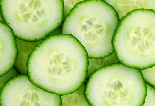 Sliced cucumbers.