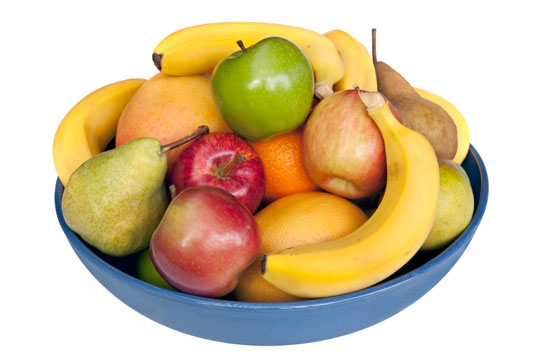 A bowl filled with fruits: bananas, pears, and apples.