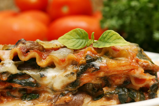 A plate of vegetable lasagna.