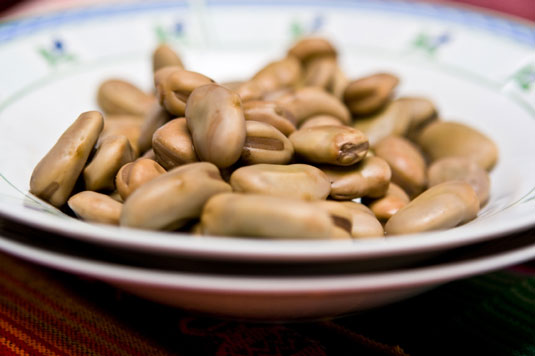A bowl of fava beans.