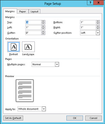 how to use the page setup dialog box in word 2013 dummies