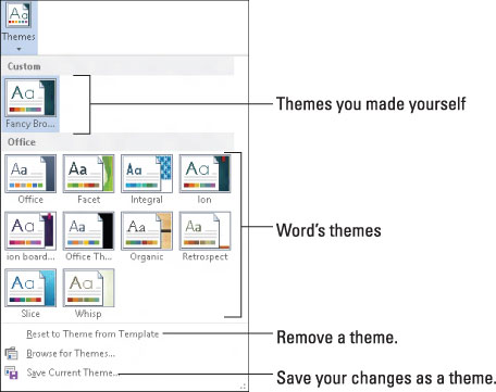 how to use themes in word 2013 dummies