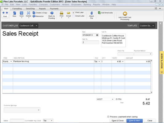 How To Record A Sales Receipt In Quickbooks 2013 Dummies
