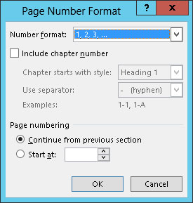 how to start word document numbering from a different page