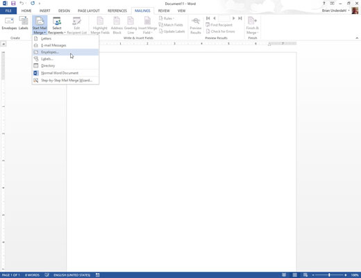 How to Create a Mail Merge Envelope Template in Word 2013 - dummies