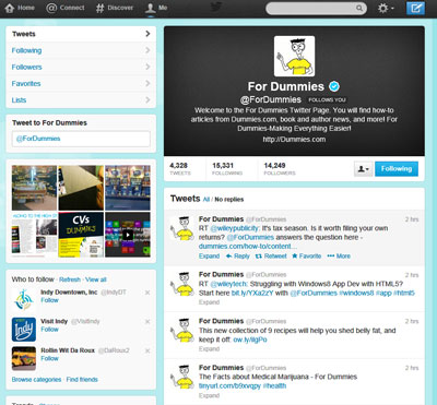 For Dummies profile page on Twitter.