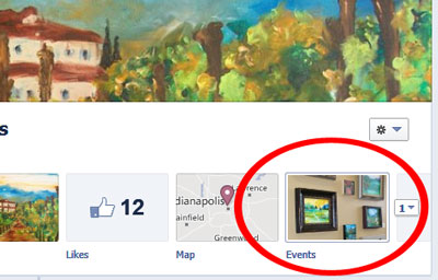 The events tab on a Facebook page.
