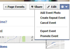 Drop down menu that appears when you click the gear icon in the corner of a Facebook event.