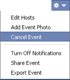 Facebook Event Settings menu