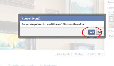 Cancel event? dialog box.