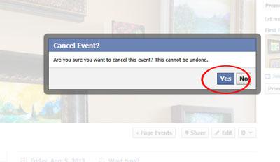 Cancel event? dialog box.