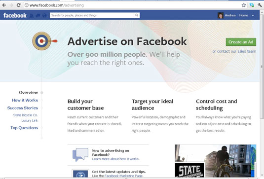 Facebook Ads home screen.