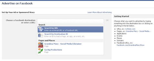 Set up page for Facebook Ads.