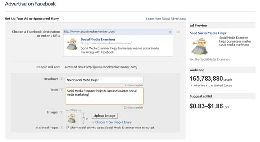 Facebook screen where you can create your advertisement.