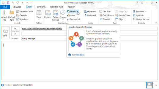 You can add graphs and charts to your emails using the Smart Art option in your Outlook.