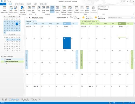 Outlook's Calendar module with multiple calendars.