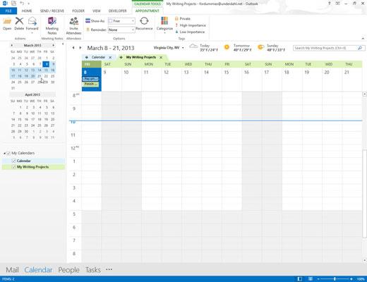 Outlook Calendar also allows you to view a range of dates as a group.