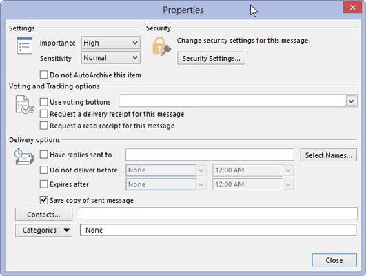 Message properties window in MIcrosoft Outlook 2013.