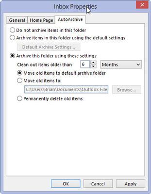 The inbox properties dialog box in Outlook 2013.