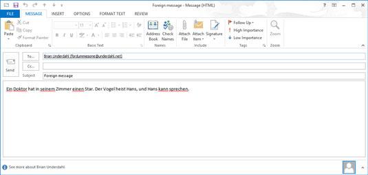 An Outlook message screen.