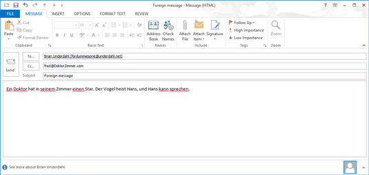 A message window in Outlook 2013.