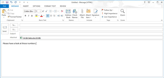 A blank message form with an attached file.