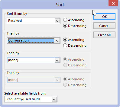 The Sort dialog box in Outlook 2013.