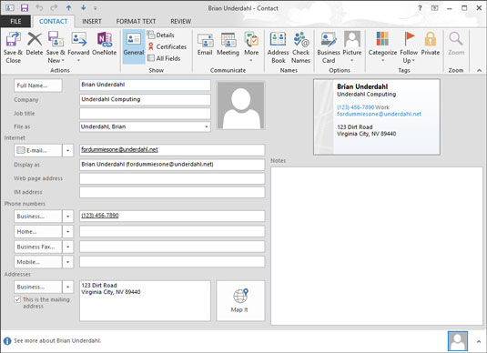 Contact information page in Outlook.
