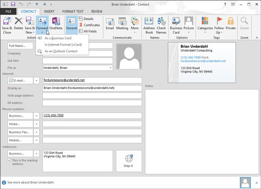 You can forward a contact as a business card when you click the Forward button on the Contact tab's Ribbon.