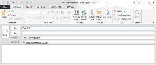 Outlook message window with a contact's business card as an attachment.