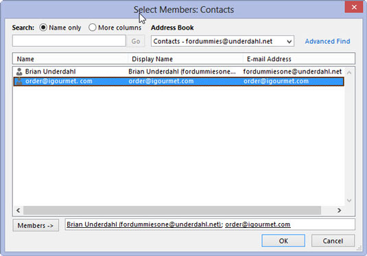 how to make a contact in outlook 2013