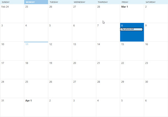 A monthly calendar in Outlook 2013.