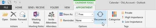 The Calendar's menu bar in Outlook 2013.