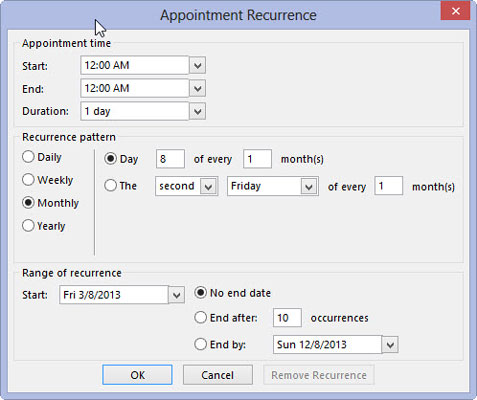 You can decide how often an appointment recurs using the Appointment Recurrence box in Outlook.