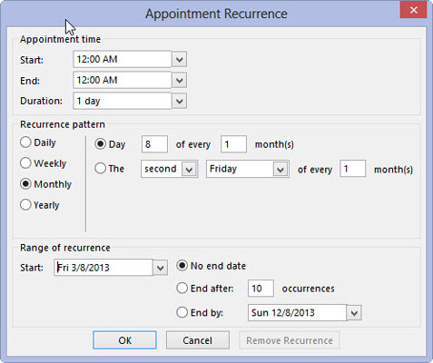 The Appointment Recurrence box allows you to decide how long a recurring event lasts.