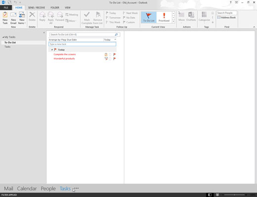 To-Do List screen on Outlook.
