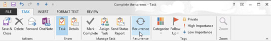 Click the recurrence button on the task form toolbar.